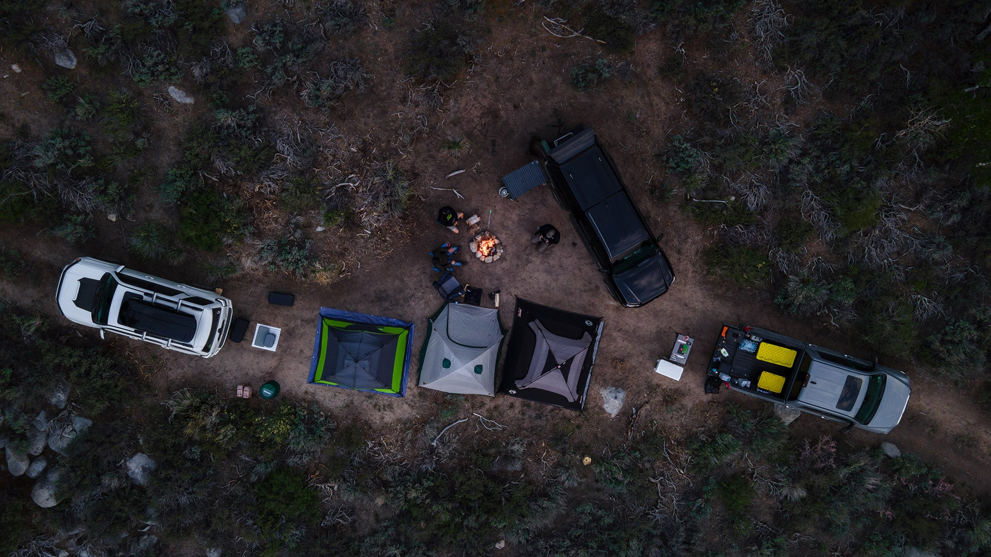 Drone image of our campsite from above
