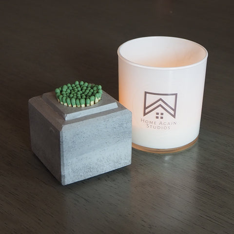 Concrete Cube Match Striker and Candle