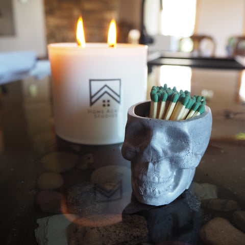 Concrete Skull and Candle