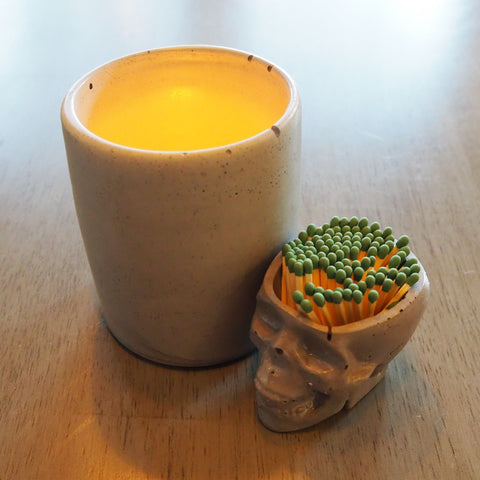 Concrete Skull Match Striker and Concrete Candle