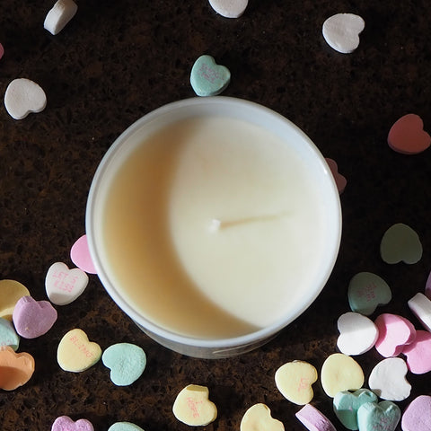 Candle with Heart Candies