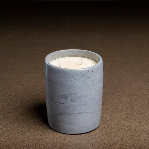 large concrete pot with candle