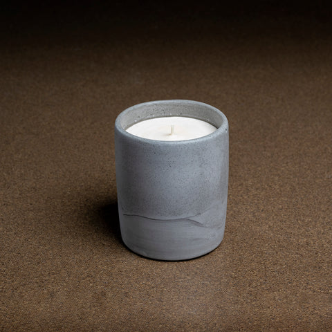medium concrete pot with candle