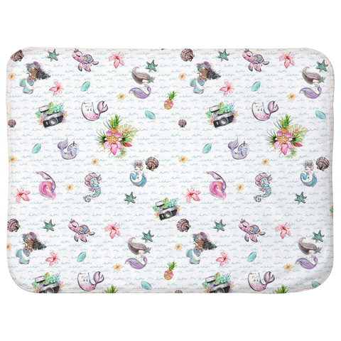 Mermaids, pineapples, and cameras light background Sherpa Blankets (Infant Sizes) - Mermaids and Minis