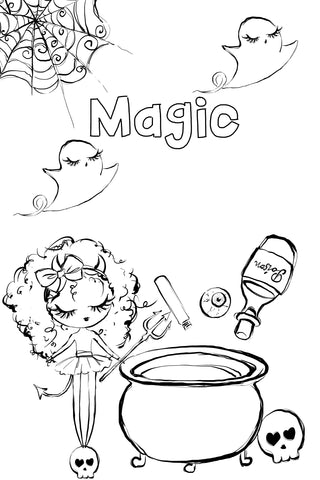 Halloween Coloring Pages - Printable 6x9 - Mermaids and Minis