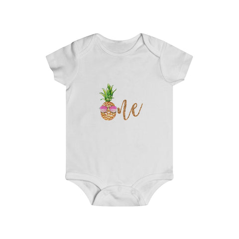 Golden Sunglasses Pineapple First Birthday Baby Bodysuit - Mermaids and Minis