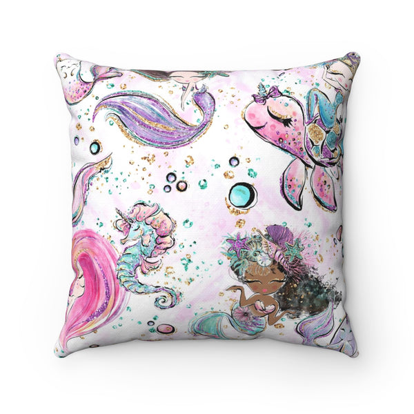 Under The Sea Square Pillow Case - Mermaids and Minis