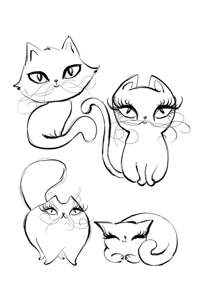 I Love Cats Coloring Pages- Printable 6x9 - Mermaids and Minis