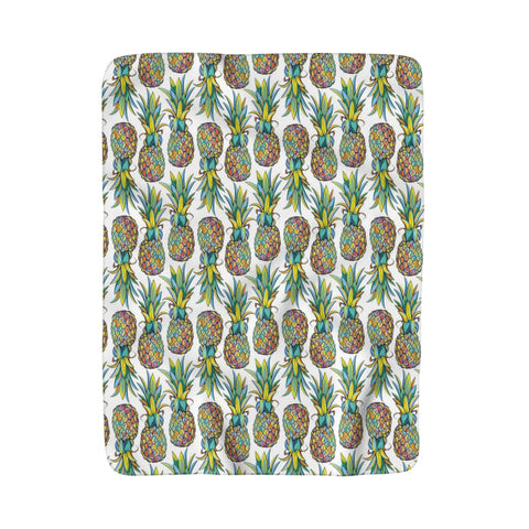 Colorful Pineapple White background Sherpa Fleece Blanket - Mermaids and Minis