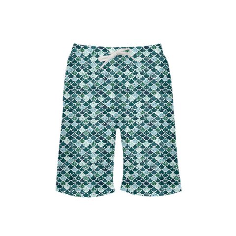 Mermaid Scale Dark Teal Dreamer Boy's Swim Trunk - Mermaids and Minis