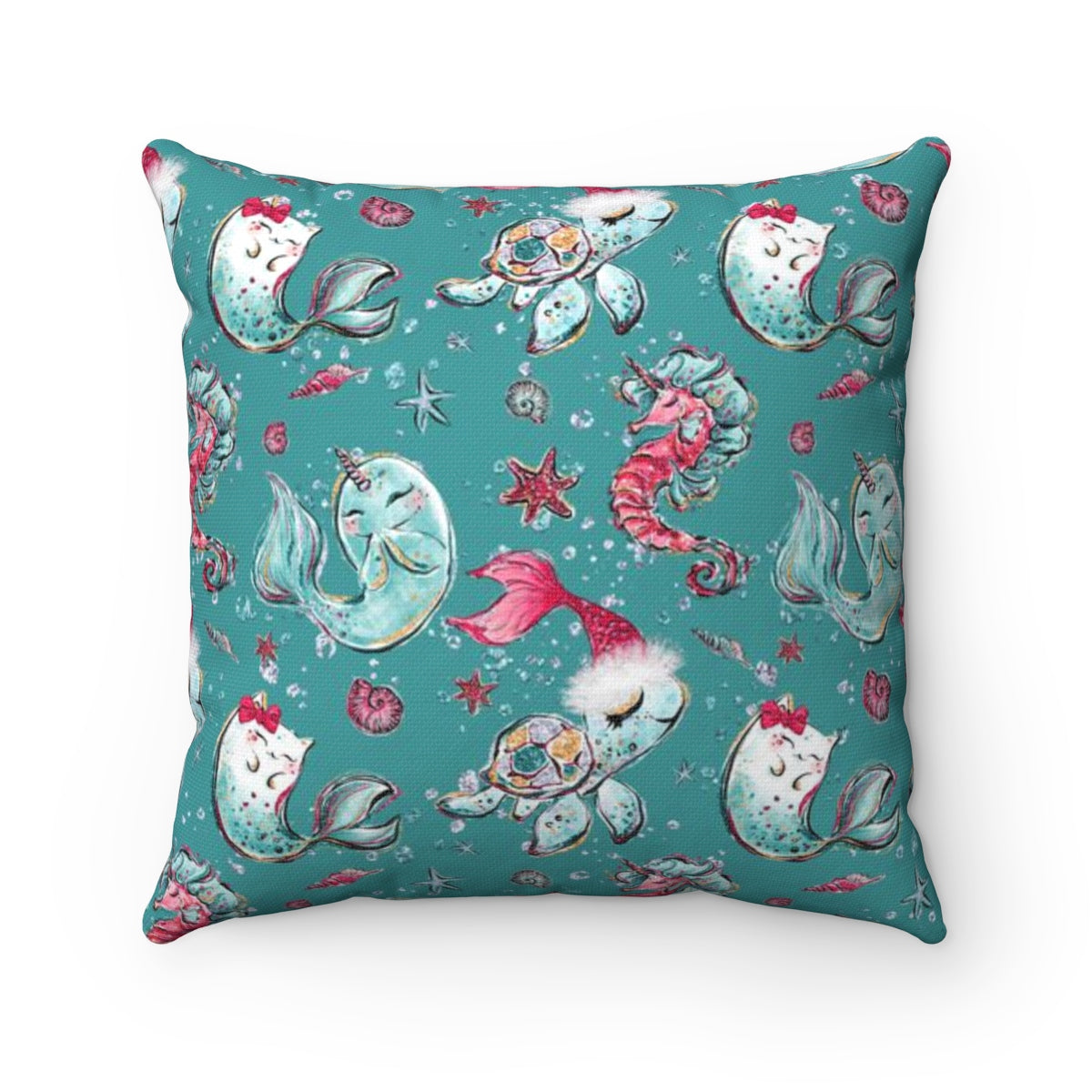 Sea Creature Holiday Square Pillow Case - Mermaids and Minis