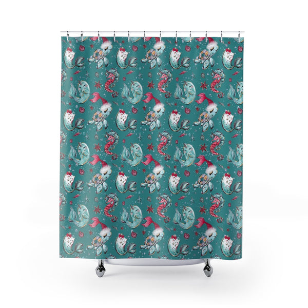 Sea Creature Holiday Shower Curtain - Mermaids and Minis