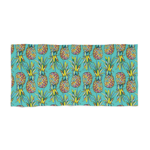 Colorful Pineapple Teal Beach Towel - Mermaids and Minis