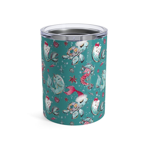 Mermazing Holiday Teal Tumbler 10oz - Mermaids and Minis