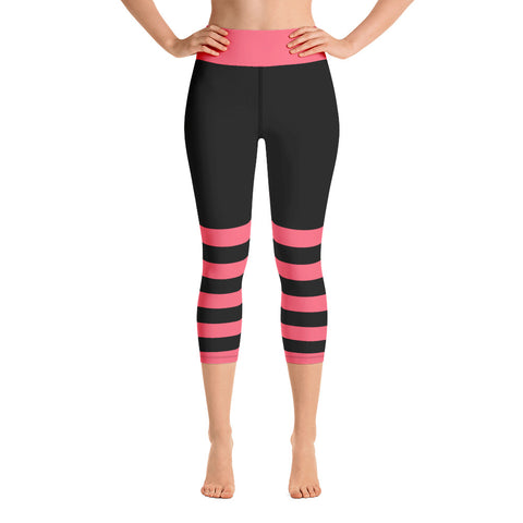 Black and Pink Yoga Capri Leggings - Mermaids and Minis