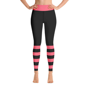 Black and Pink Yoga Leggings - Mermaids and Minis