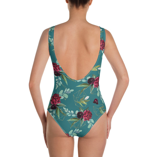 Teal Floral Dreams One-Piece Swimsuit