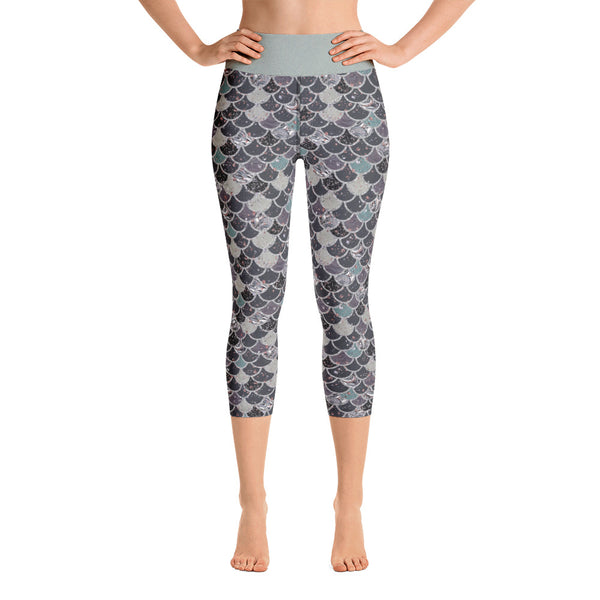 Dark Mermaid Scale Yoga Capri Leggings - Mermaids and Minis