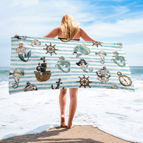 Merboy Beach Towel - Mermaids and Minis