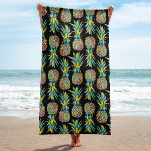 Colorful Pineapple Black background Towel - Mermaids and Minis