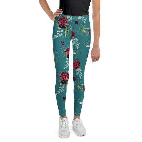 Teal Floral Dream Youth Leggings