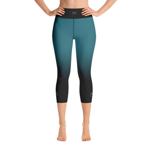 Black and Teal Gold Camera Yoga Capri Leggings - Mermaids and Minis