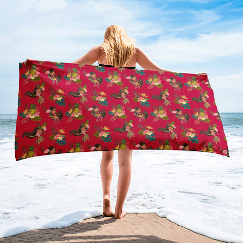 Aloha Hula Girl Beach Towel - Mermaids and Minis