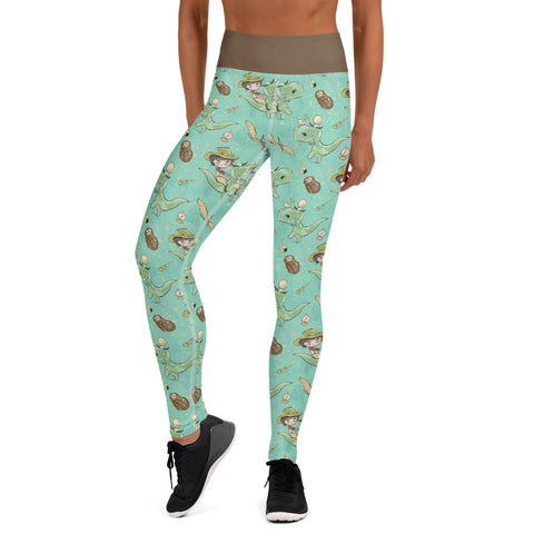 Prehistoric Girl Dinosaur Yoga Leggings - Mermaids and Minis