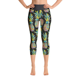 Colorful Pineapple Yoga Capri Leggings - Mermaids and Minis