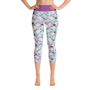 Glitter Mermaid Scale Yoga Capri Leggings - Mermaids and Minis