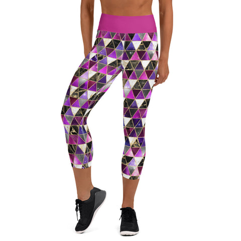 Pink Galaxy Geo Yoga Capri Leggings