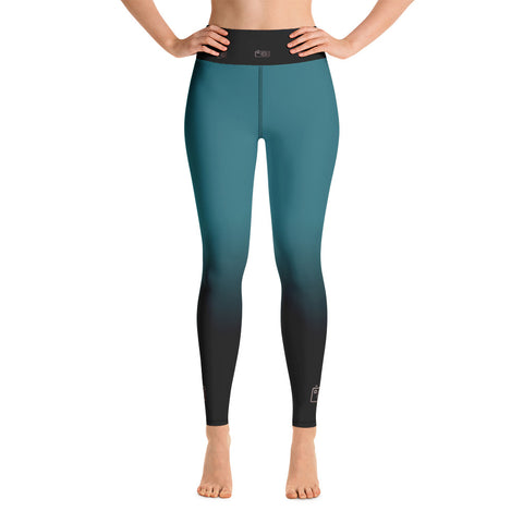 Black and Teal Camera Yoga Leggings - Mermaids and Minis