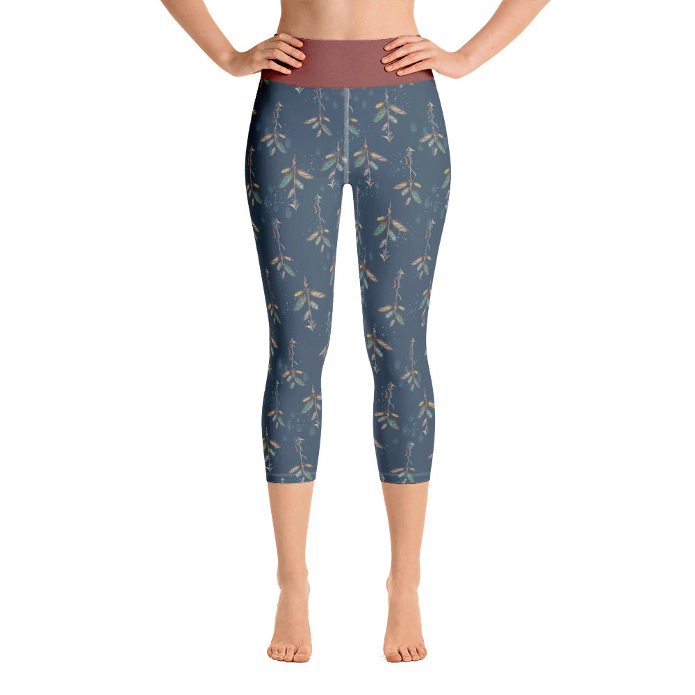 Octavia Fall Print Yoga Capri Leggings - Mermaids and Minis