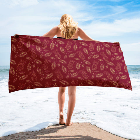 Vintage Golden Pineapple Red Beach Towel