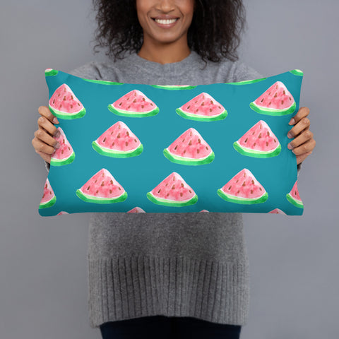 Teal and Watermelon Pillow - Mermaids and Minis