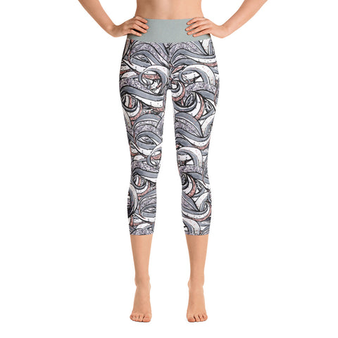 Dark Wave Yoga Capri Leggings - Mermaids and Minis
