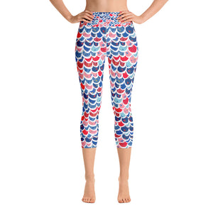 Mermaid Scale 4th of July Yoga Capri Leggings - Mermaids and Minis