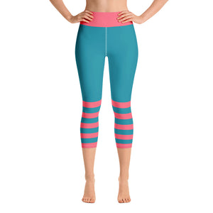 Teal and Watermelon Pink Yoga Capri Leggings