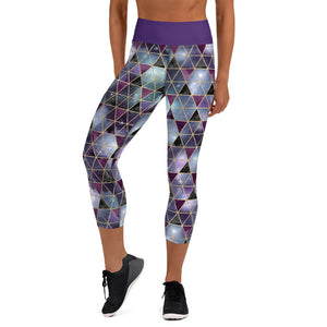 Purple Galaxy Geo Yoga Capri Leggings - Mermaids and Minis