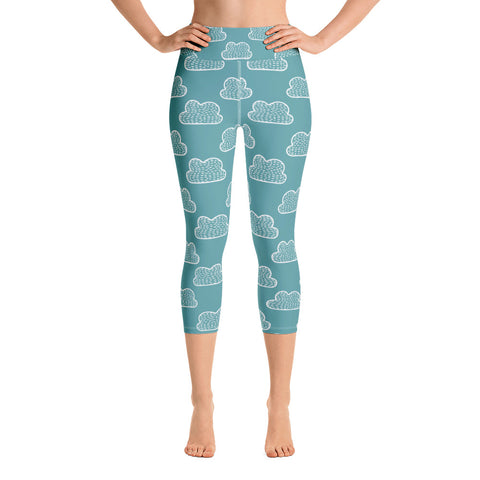 Teal Clouds Yoga Capri Leggings