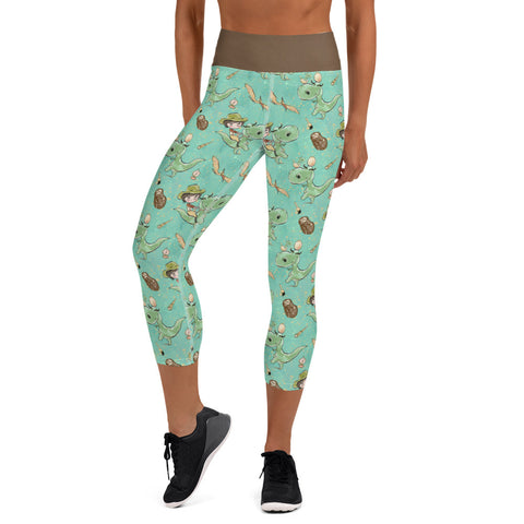 Prehistoric Girl Dinosaur Yoga Capri Leggings - Mermaids and Minis