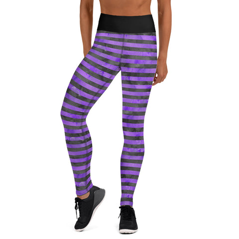 Purple and Black Striped Halloween Yoga Leggings - Mermaids and Minis