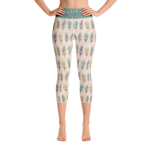 Autumn Feathers Beige Yoga Capri Leggings - Mermaids and Minis