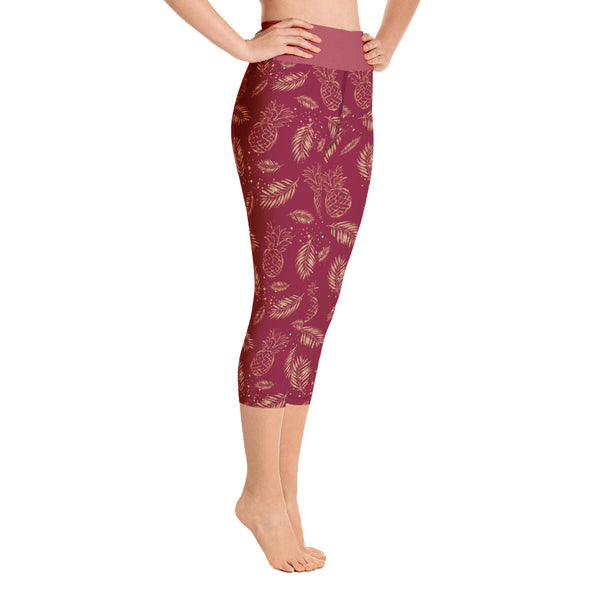 Vintage Golden Pineapple Red Yoga Capri Leggings