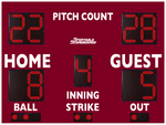 Baseball/Softball LED Scoreboard with Pitch Count - Model 3312PC - Maroon | Murray Sporting Goods