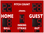 Baseball/Softball LED Scoreboard with Pitch Count - Model 3312PC - Red | Murray Sporting Goods
