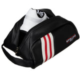 Stripe Golf Leather Shoe Bag - Side View Unzipped
