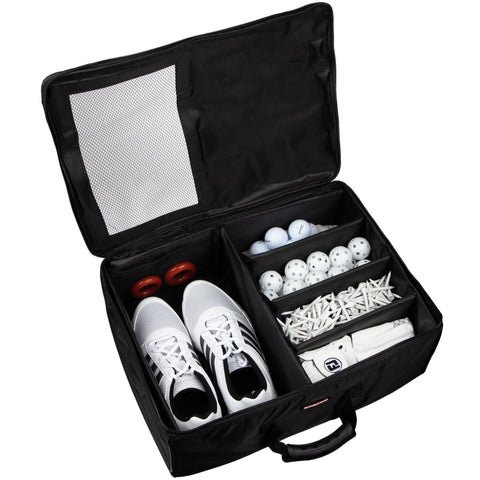 Stripe Golf Trunk Organizer and Travel Storage Locker - Top Hatch Open with Golf Accessories