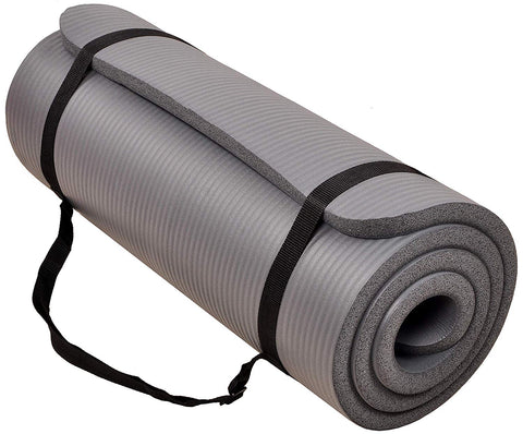 All Purpose 1-inch Premium Exercise Yoga Mat with Carrying Strap. Colors available: Gray, Purple and Green. Training Equipment for your upcoming season.
