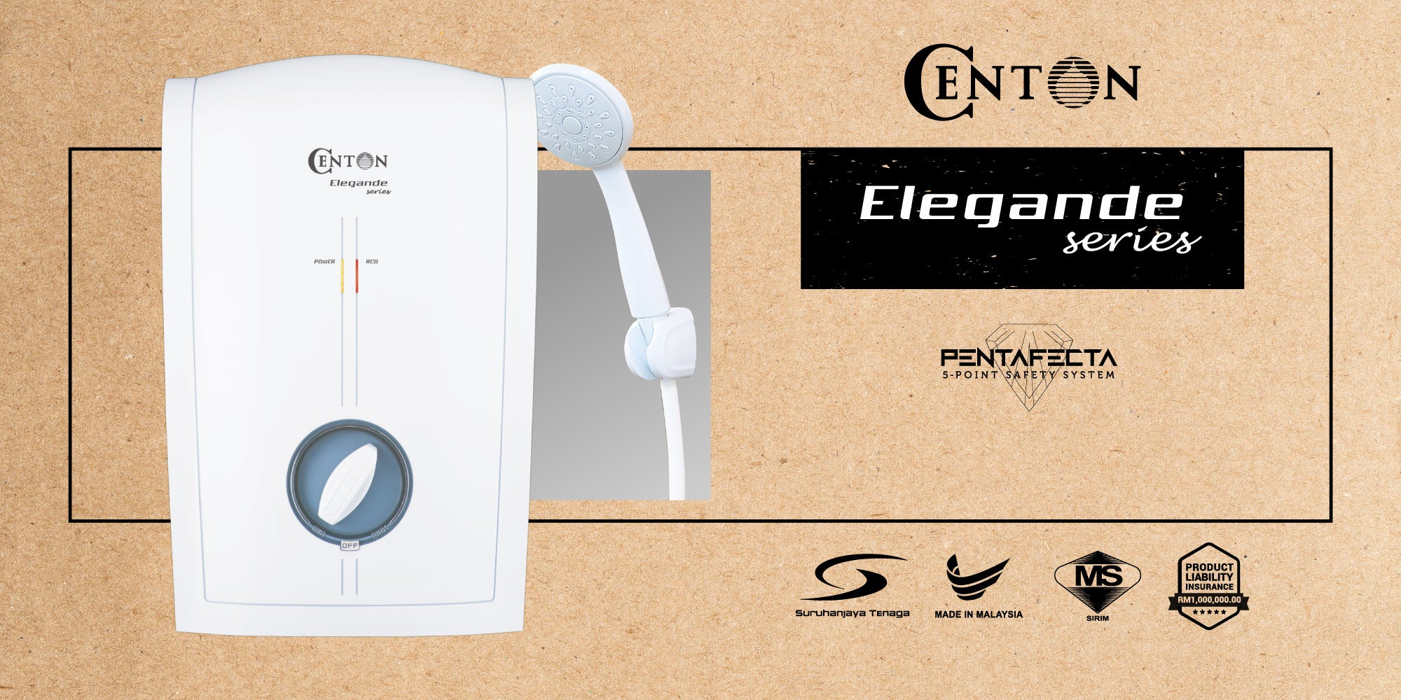CENTON Elegande Instant Shower Water Heater | No Pump